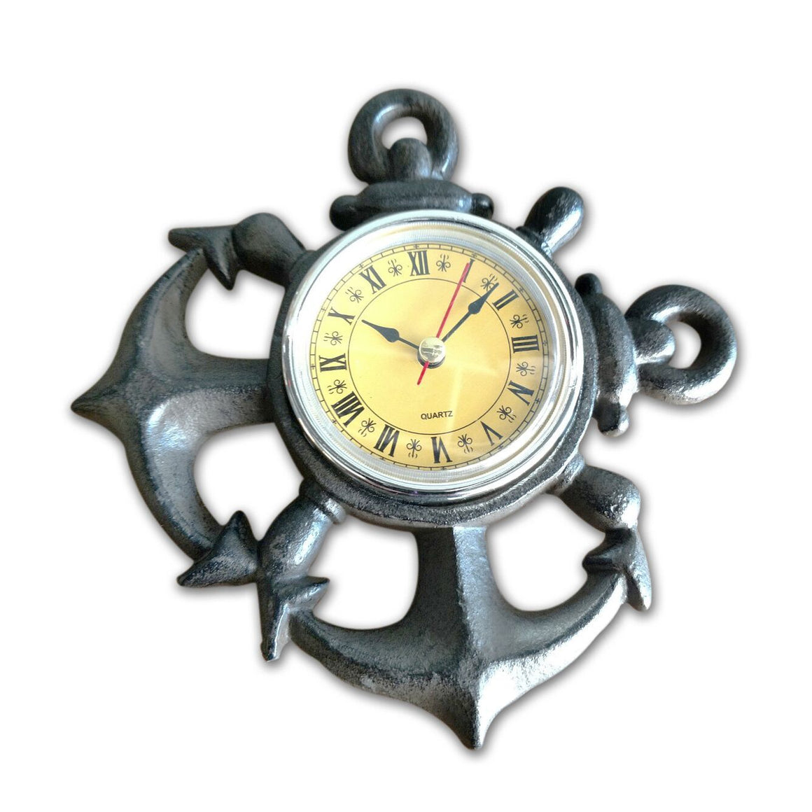 Nautical Anchor Metal Wall Clock - Cast Iron - Roman Numeral Dial - Rustic Deco Incorporated