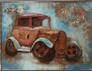 "Antique Car - Rustic 3D Metal Wall Art - 48"" x 36"" - Industrial - Rustic Deco Incorporated"