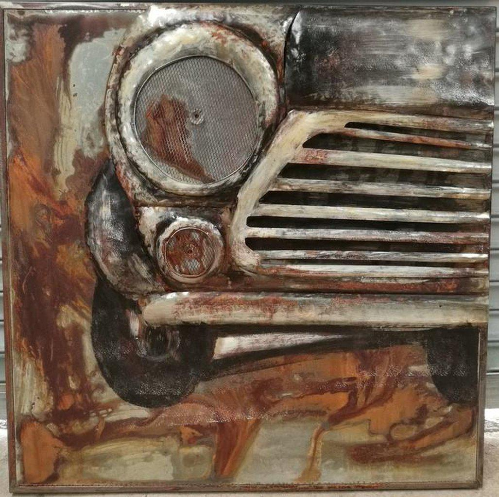 "Antique Classic Car Front Rustic 3D Metal Wall Art - 40"" x 40"" - Rustic Deco Incorporated"