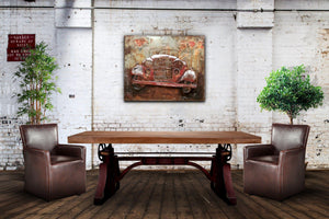 "Antique Classic Car Rustic 3D Metal Wall Art - Red - 40"" x 32"" - Rustic Deco Incorporated"