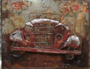 "Antique Classic Car - Red - Rustic 3D Metal Wall Art - 40"" x 32"" - Rustic Deco Incorporated"
