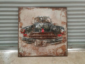"Antique Classic Car - Rustic 3D Metal Wall Art - 40"" x 40"" - Rustic Deco Incorporated"