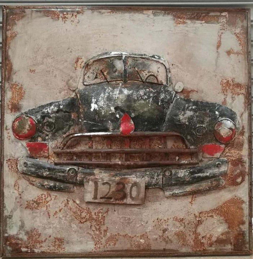 "Antique Classic Car Rustic 3D Metal Wall Art - 40"" x 40"" - Rustic Deco Incorporated"
