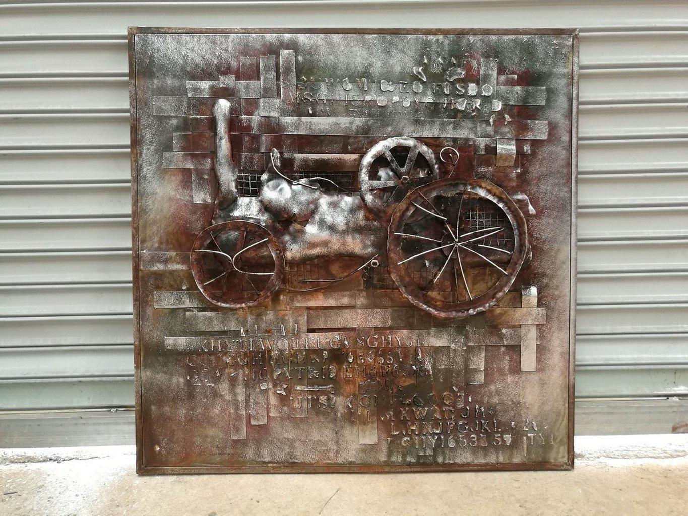 Antique Steam Tractor Rustic 3d Metal Wall Art 40 X 40