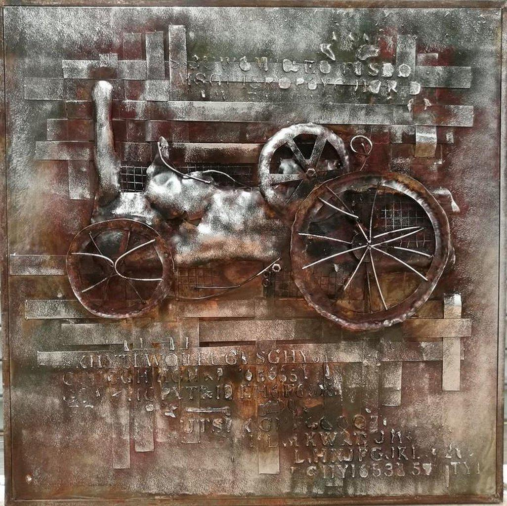 "Antique Rustic Steam Tractor - 3D Metal Wall Art - 40"" x 40"" - Rustic Deco Incorporated"