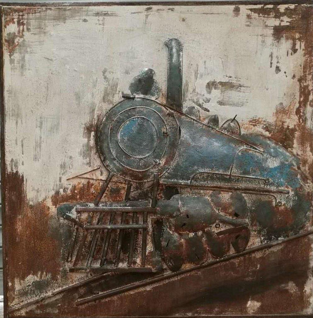 "Antique Steam Locomotive - Rustic 3D Metal Wall Art - 40"" x 40"" - Rustic Deco Incorporated"