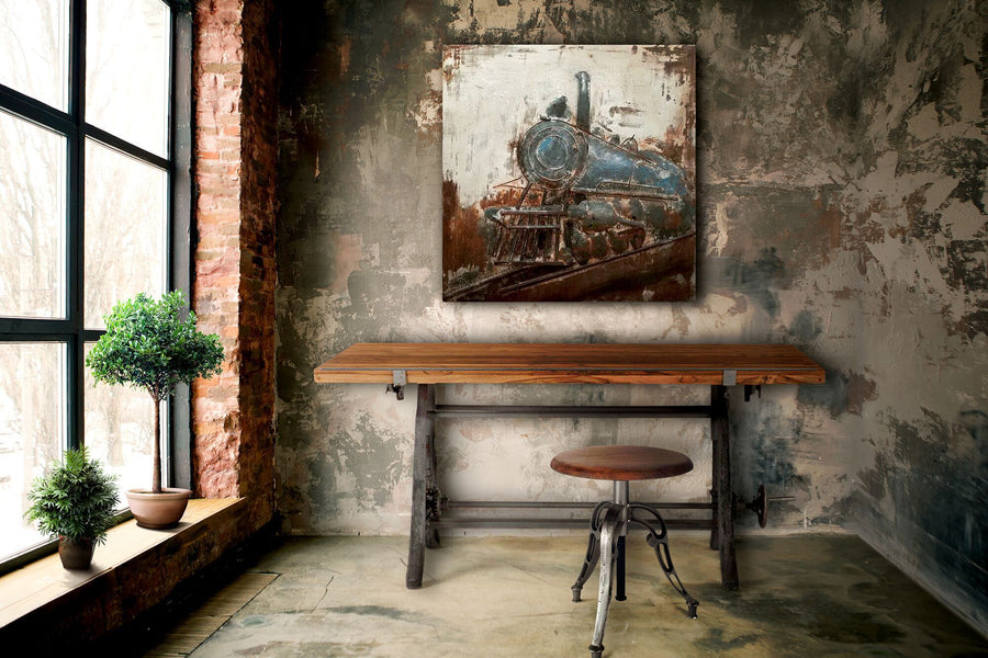 "Antique Steam Locomotive Rustic 3D Metal Wall Art - 40"" x 40"" - Rustic Deco Incorporated"