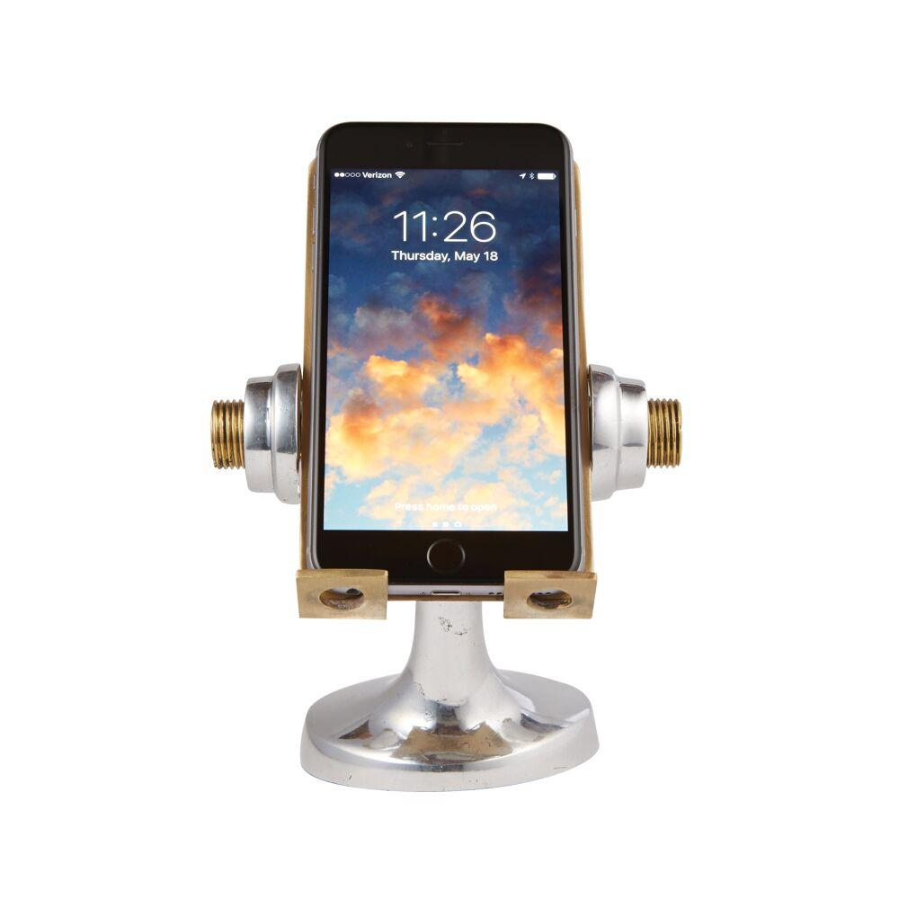 Apollo Cell Phone Stand Brass - Polished Aluminum - Space Age-Rustic Deco Incorporated