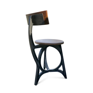Art Deco Industrial Dining Chair - Iron and Solid Wood Pair of 2 - Rustic Deco Incorporated