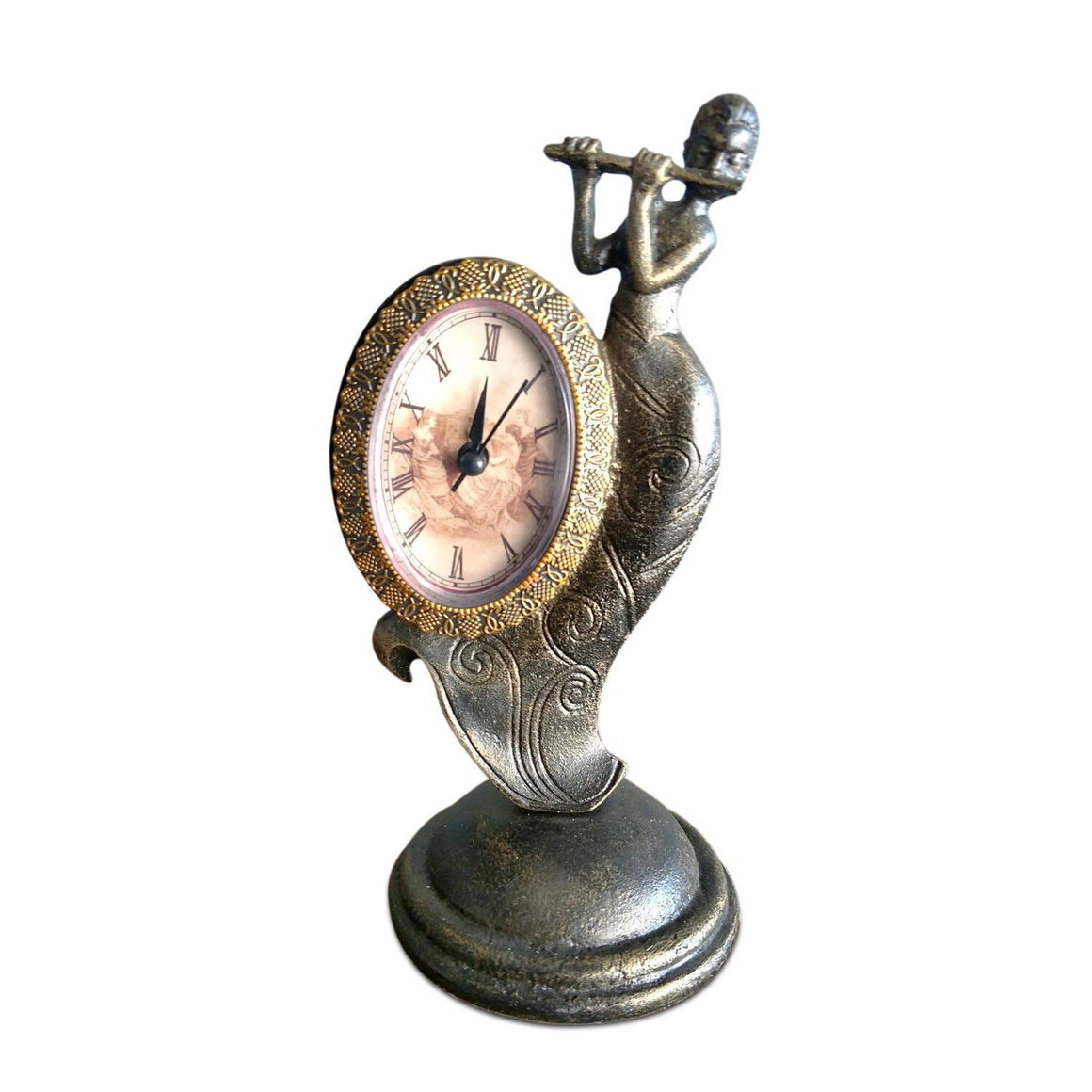 Art Deco Flute Lady Table Clock - Rustic Deco Incorporated