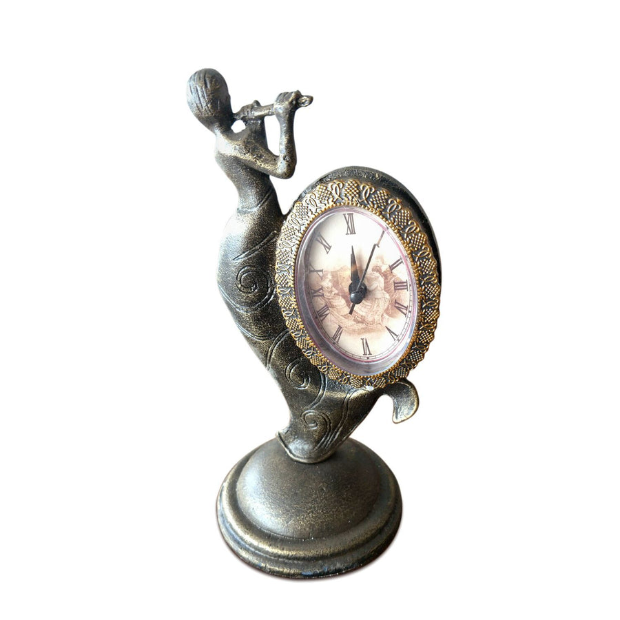 Art Deco Flute Playing Lady Table Clock Metal Figurine Sculpture - Cast Iron - Rustic Deco Incorporated