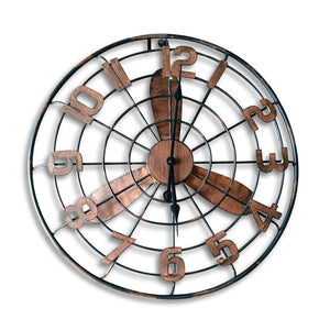 Art Deco Large Fan Design Metal Wall Clock-Rustic Deco Incorporated