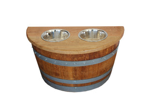 Authentic Wine Barrel Repurposed Elevated Dog Feeder Bowl Holder - Rustic Deco Incorporated