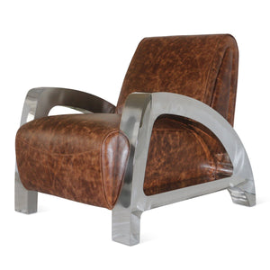 Aviatior Mid-Century Modern Steel Leather Leisure Chair Aviation - Rustic Deco Incorporated