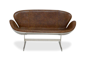 Aviator Swan Sofa - Mid-Century Modern - Genuine Leather - Aluminum-Rustic Deco Incorporated