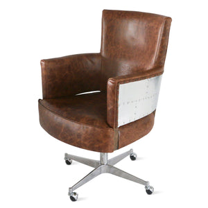 Aviator Adjustable Executive Office Chair - Genuine Leather - Rustic Deco Incorporated