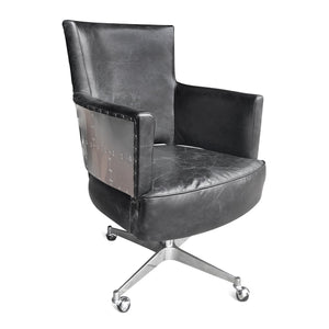 Aviator Adjustable Executive Office Chair - Genuine Black Leather-Rustic Deco Incorporated