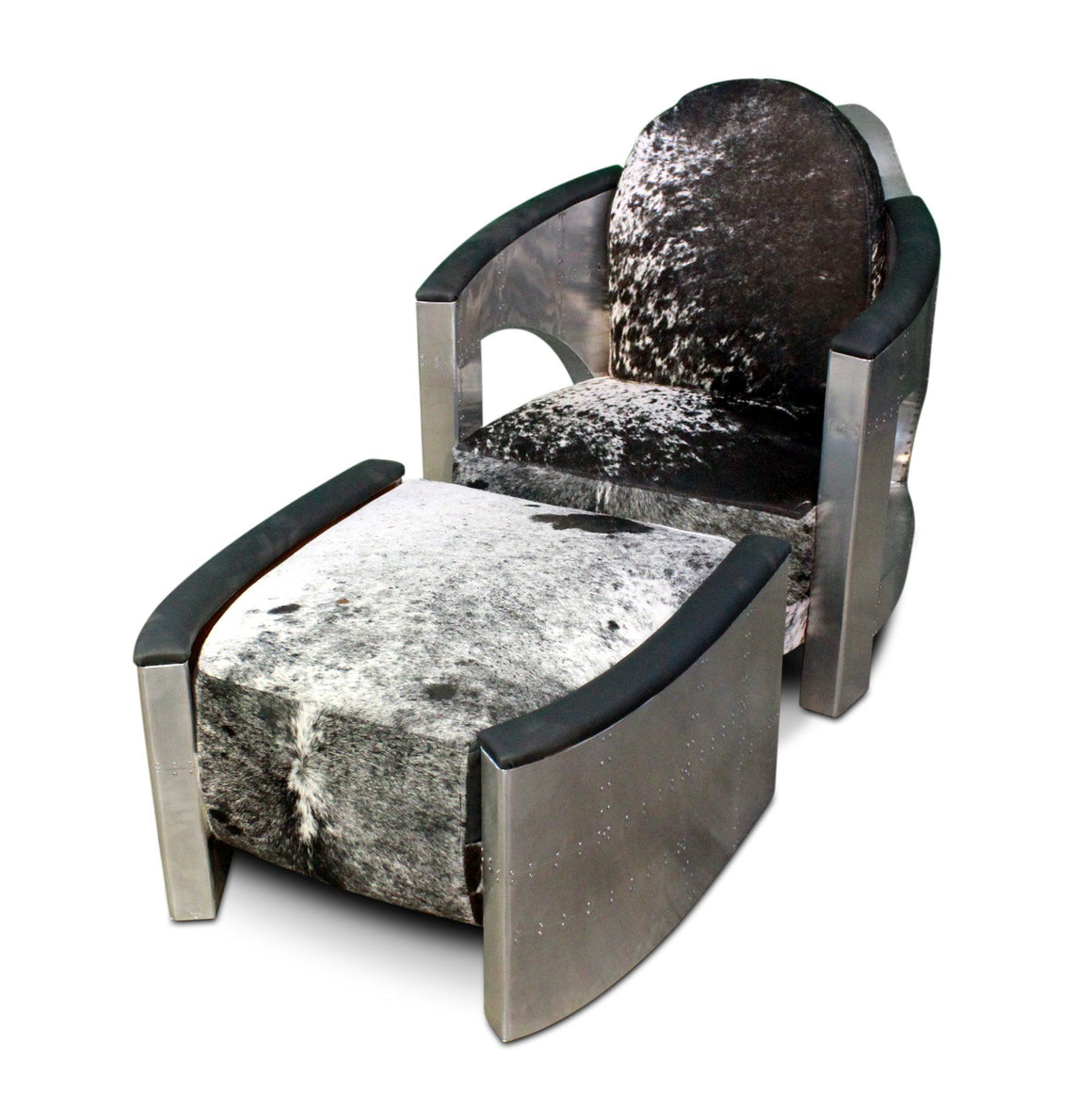 Aviator Chair and Ottoman - Custom Cowhide - Polished Aluminum Armchair - Rustic Deco Incorporated