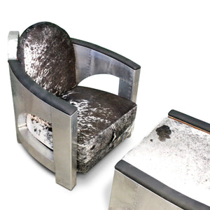 Aviator Chair and Ottoman - Custom Cowhide - Polished Aluminum Armchair-Rustic Deco Incorporated