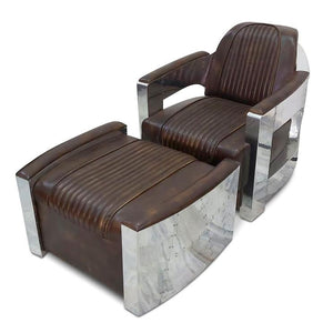 Aviator Chair and Ottoman - Genuine Leather - Polished Aluminum Armchair-Rustic Deco Incorporated