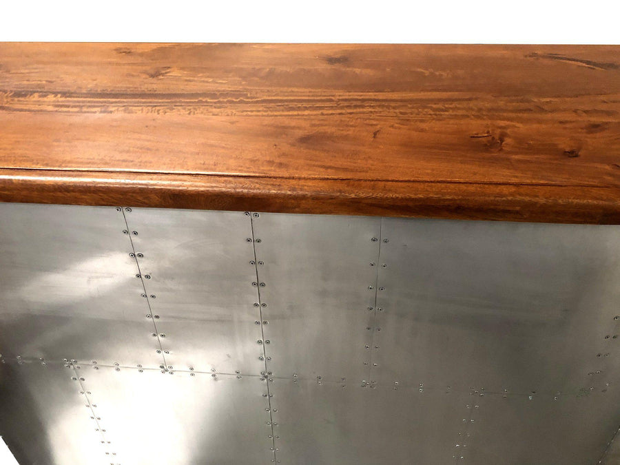 "Aviator Home Bar - Aluminum - 61"" Wide Hardwood Top - Rustic Deco Incorporated"