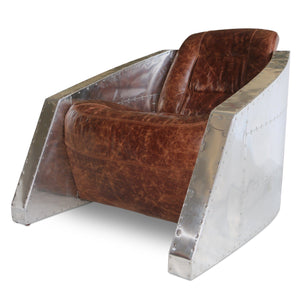 Aviator Bullet Leisure Arm Chair - Genuine Leather - Rustic Deco Incorporated