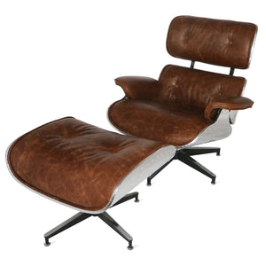 Aviator Mid-Century Modern Leisure Chair and Ottoman - Rustic Deco Incorporated