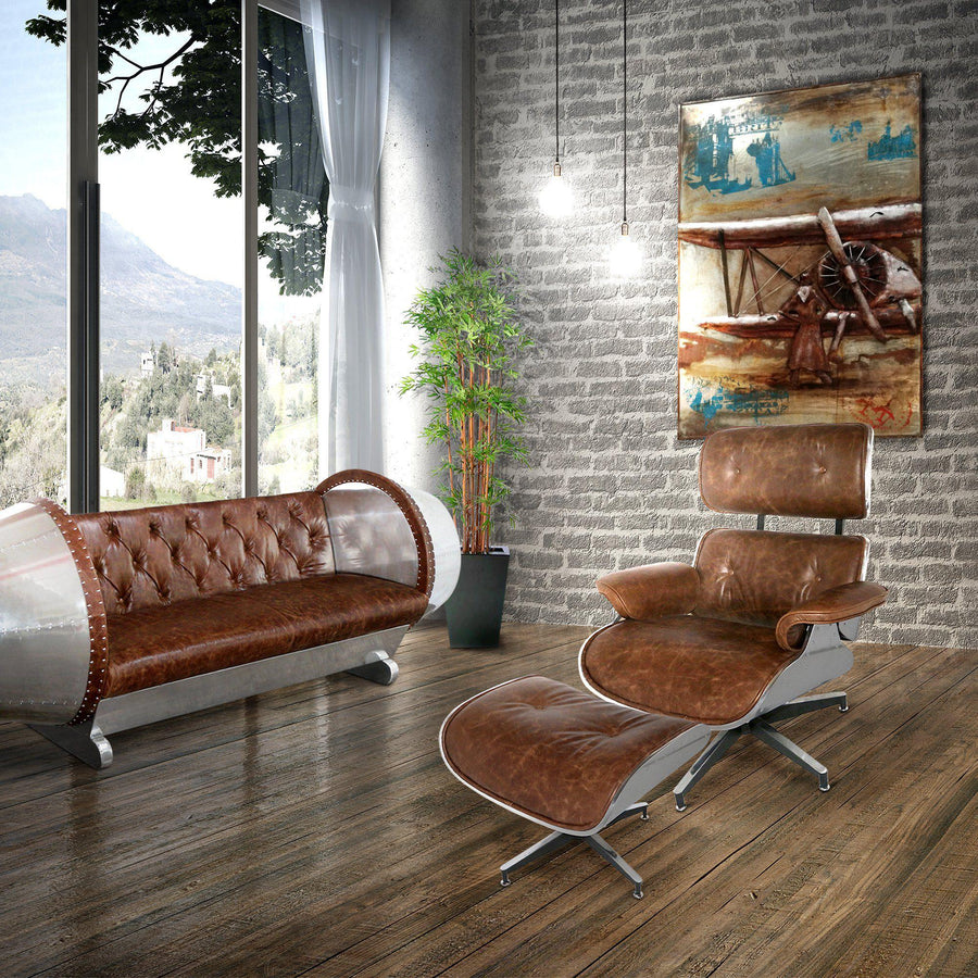 Aviator Mid-Century Modern Lounge Chair and Ottoman - Eames Inspired - Rustic Deco Incorporated
