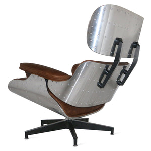 Vintage Aviator Mid-Century Modern Lounge Chair and Ottoman - Rustic Deco Incorporated