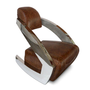 Modern Art Deco Aviator Chair - Polished Chrome - Genuine Leather - Rustic Deco Incorporated