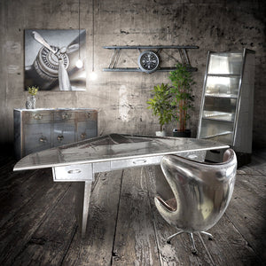 Aviator Executive Fighter Jet Wing Desk - Polished Aluminum - Rustic Deco Incorporated