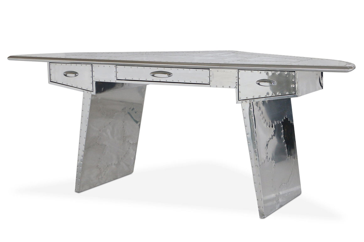 Aviator Polished Aluminum Executive Fighter Jet Wing Desk - Rustic Deco Incorporated