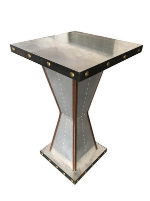 Aviator Polished Aluminum Genuine Leather Trim Pub Table - Rustic Deco Incorporated