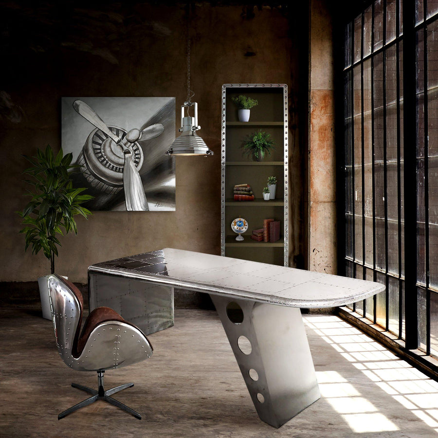 Aviator Swan Chair - Polished Aluminium - Genuine Leather - Swivel Adjustable-Rustic Deco Incorporated