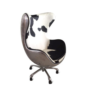 Aviator Egg Office Chair - Jacobsen - Aluminum - Cowhide - Swivel - Casters - Rustic Deco Incorporated