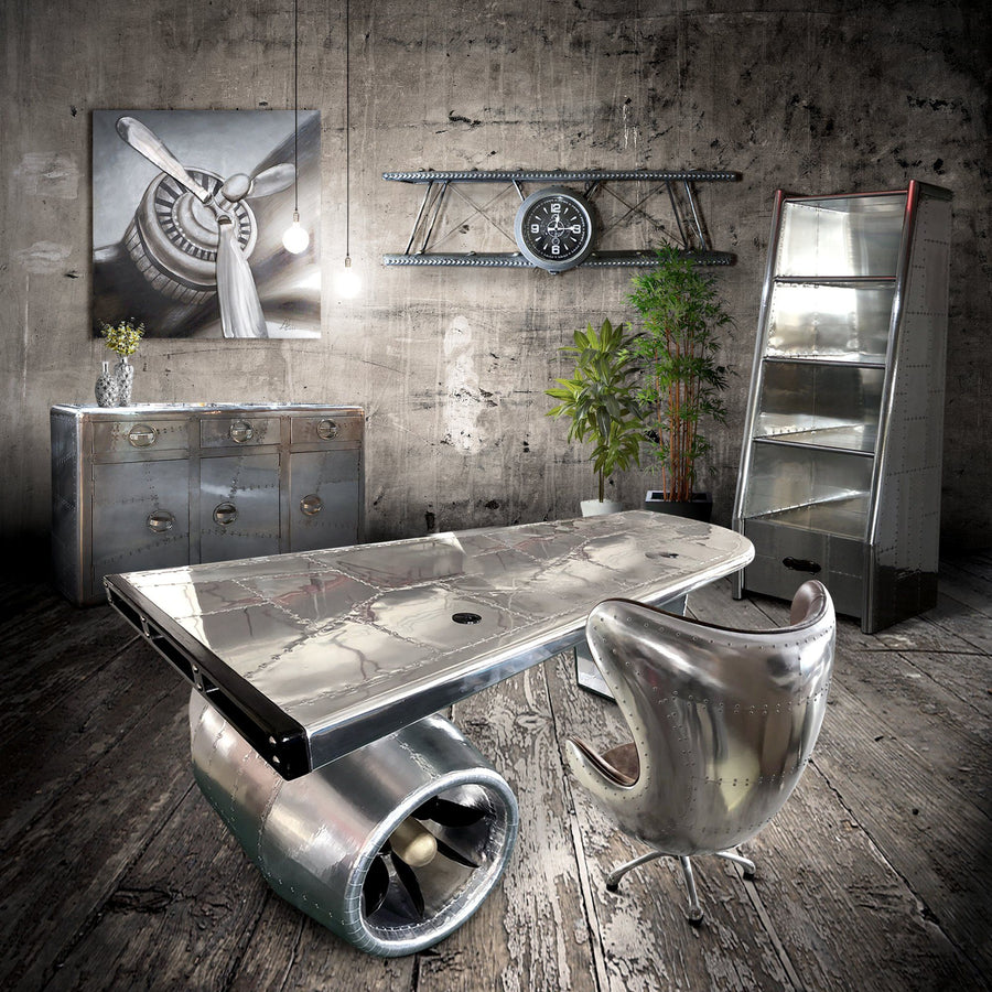 Aviator Egg Office Chair - Jacobsen - Aluminum - Leather - Swivel - Casters - Rustic Deco Incorporated