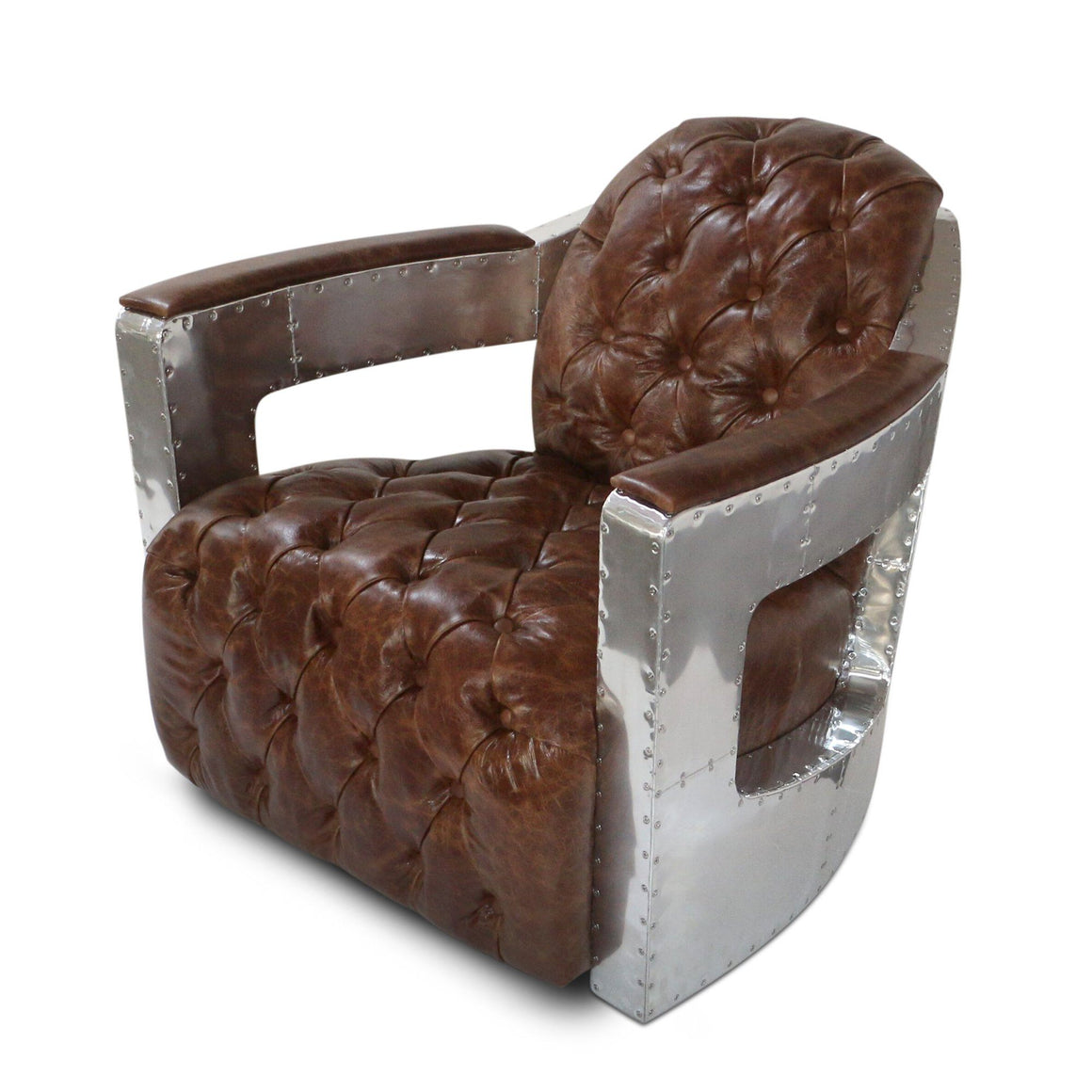 Aviator Spitfire Club Chair - Tufted Brown Genuine Leather - Aluminum - Rustic Deco Incorporated