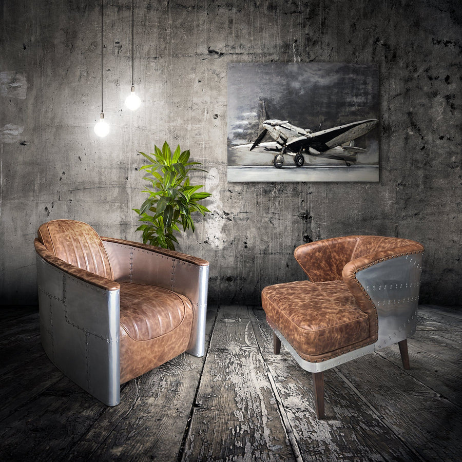 Aviator Wing Leisure Chair - Genuine Cigar Leather - Polished Aluminum-Rustic Deco Incorporated