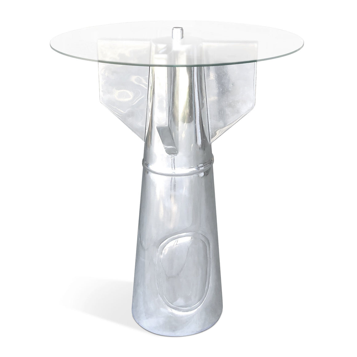 Aviator WWII Bombshell Accent Table - Polished Aluminum - Glass Top-Rustic Deco Incorporated