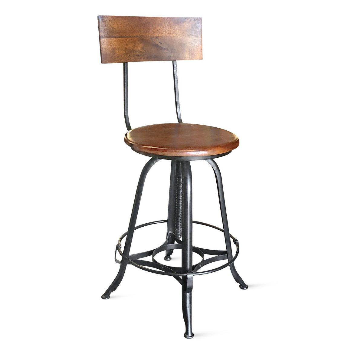 Bar Stool - Adjustable Height Chair - Footrest Swivel Seat Backrest Chair Rustic Deco