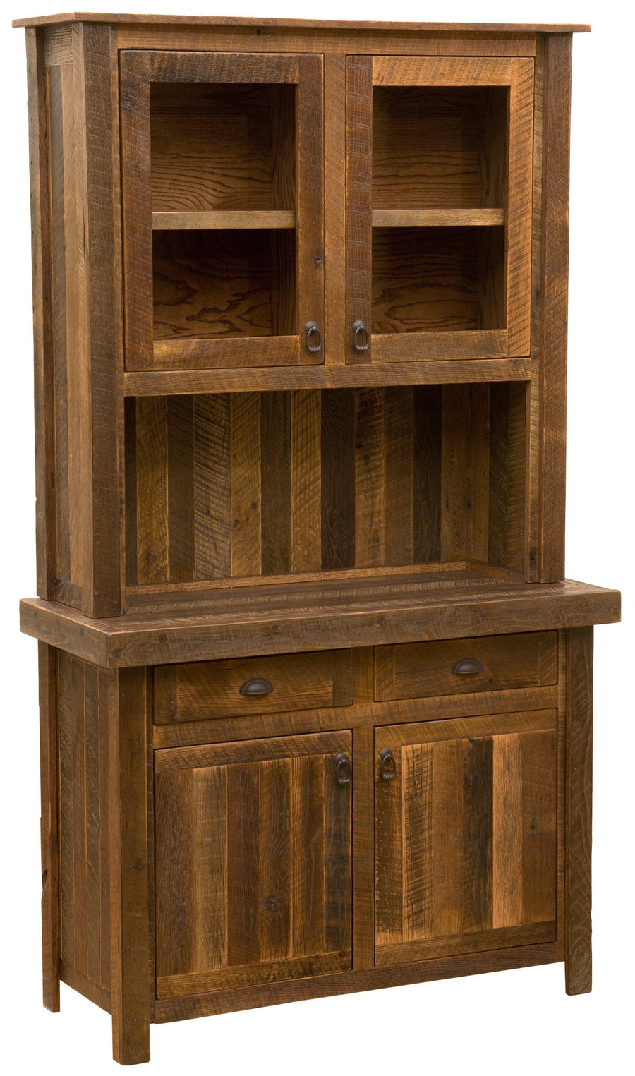 "Barnwood 48"" Buffet & Hutch - Antique Oak Top or Artisan Top - Rustic Deco Incorporated"
