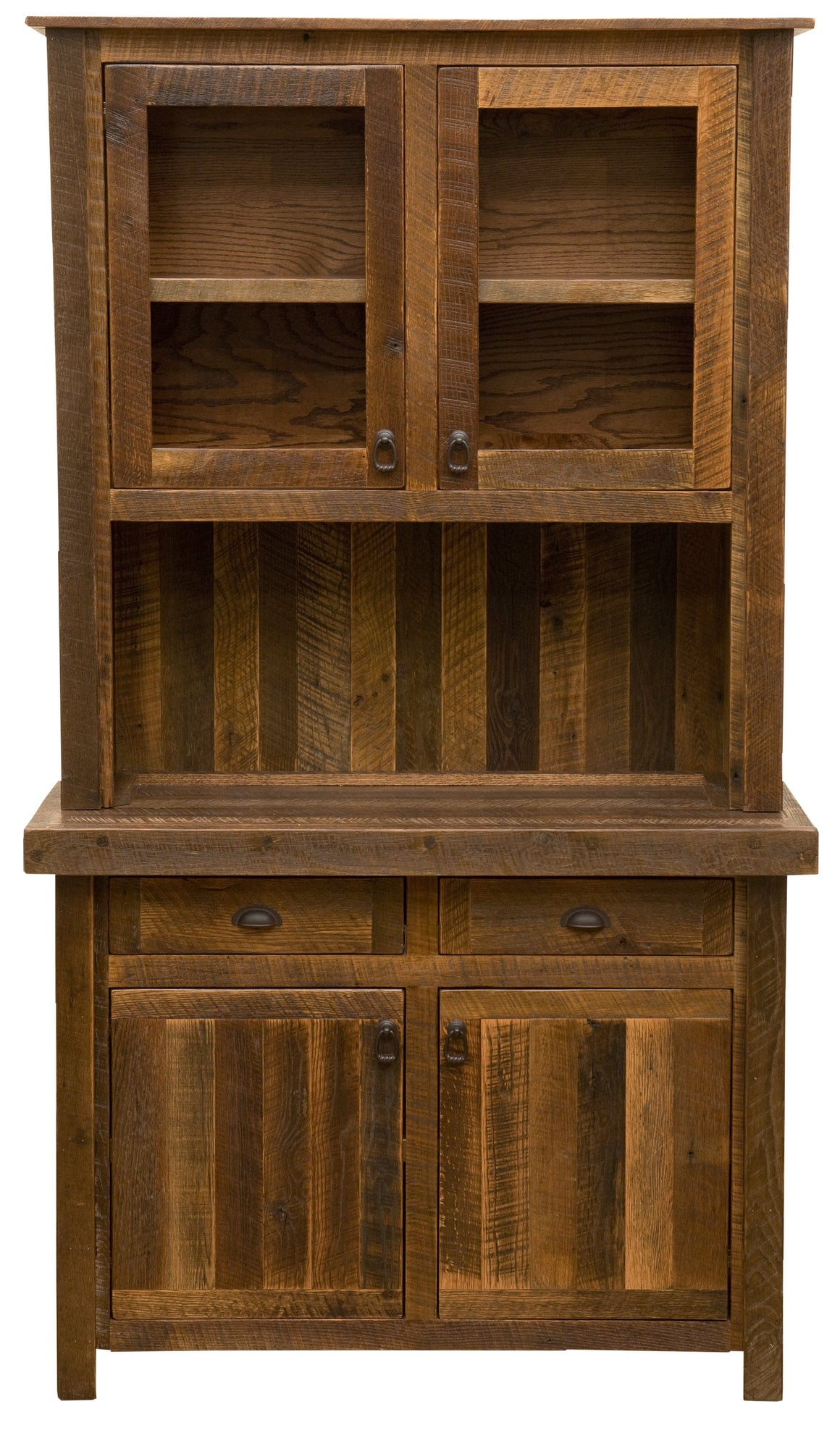 "Barnwood 48"" Buffet & Hutch - Antique Oak Top or Artisan Top-Rustic Deco Incorporated"