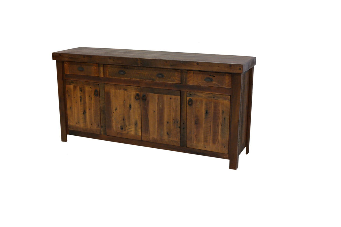 Barnwood 75 Inch Buffet - Barnwood Legs - Antique Oak Top and Artisan Top-Rustic Deco Incorporated