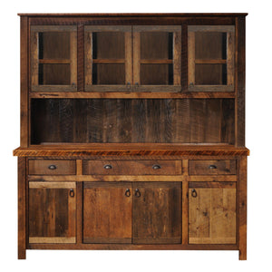 "Barnwood 75"" Buffet & Hutch - Antique Oak Top and Artisan Top-Rustic Deco Incorporated"