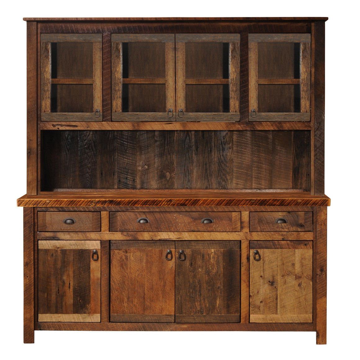 "Barnwood 75"" Buffet & Hutch - Antique Oak Top and Artisan Top - Rustic Deco Incorporated"