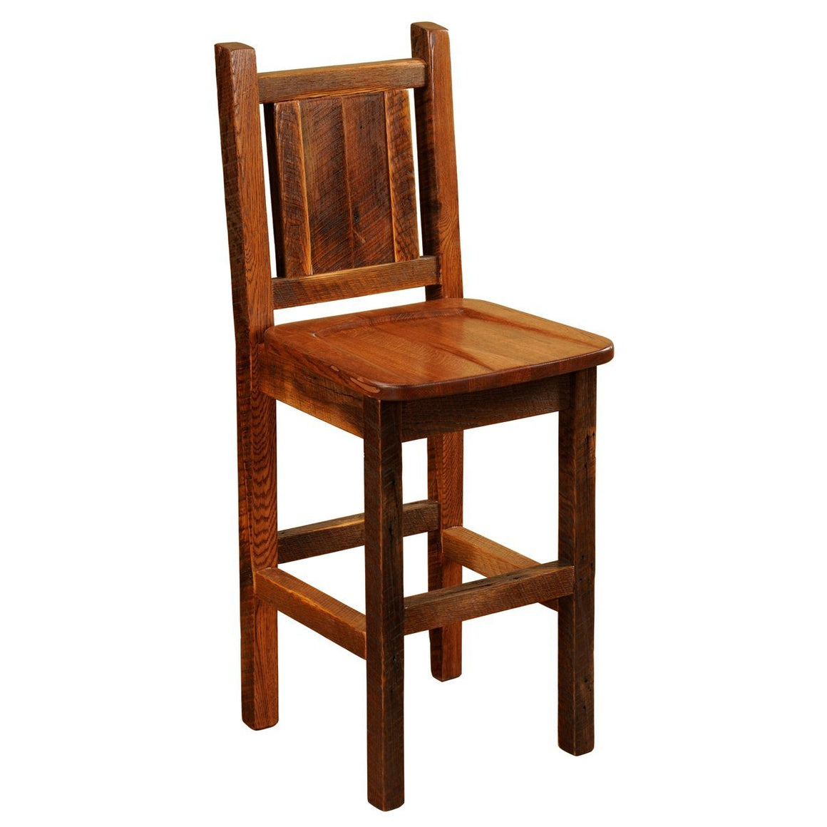 "Barnwood Artisan Barstool with Back - 30"" Seat Height - Antique Oak Seat-Rustic Deco Incorporated"