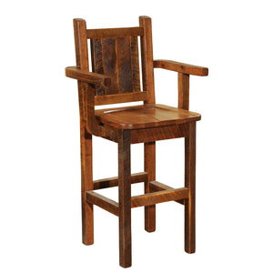 "Barnwood Artisan Counter Stool Chair - Antique Oak - 24"" Height - Rustic Deco Incorporated"