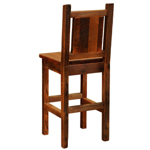 "Barnwood Artisan Upholstered Barstool with Back - 30"" Seat Height - Rustic Deco Incorporated"