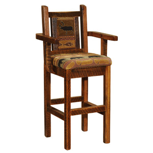 "Barnwood Artisan Upholstered Barstool with Back  and  Arms - 30"" Seat Height - Rustic Deco Incorporated"