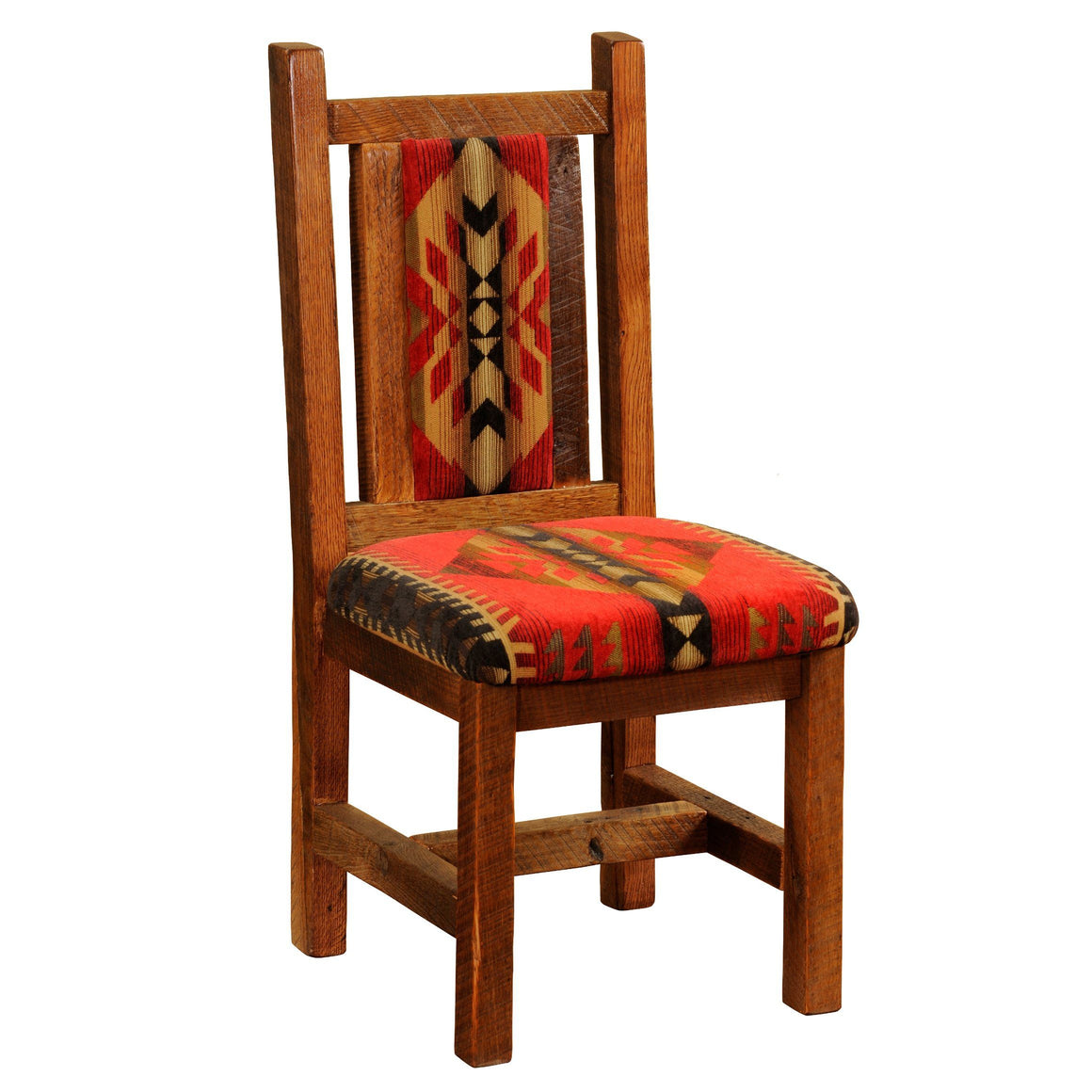 "Barnwood Artisan Upholstered Side Chair - Seat height 18"" - Standard Finish - Rustic Deco Incorporated"
